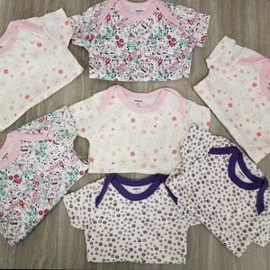 NEW Carters Love Baby Girl 0-6m Set of 7 Bodysuits